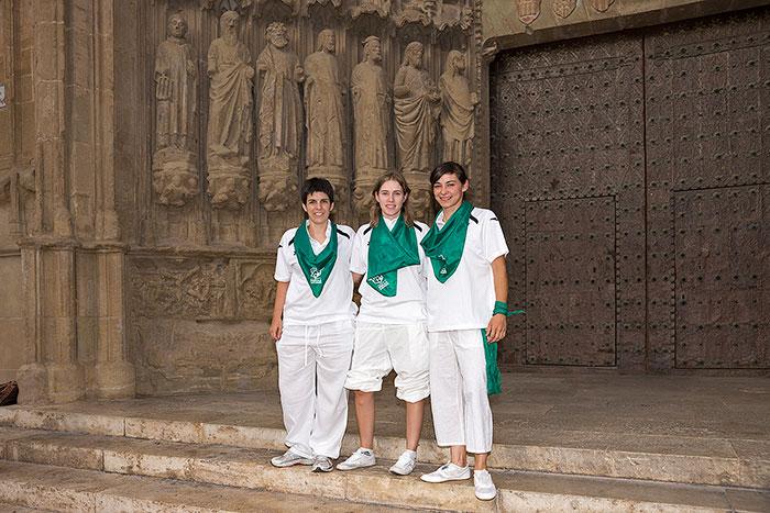 Las jugadoras de blanco y verde